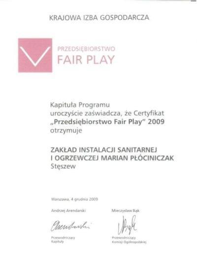 Certyfikat Fair play  2009