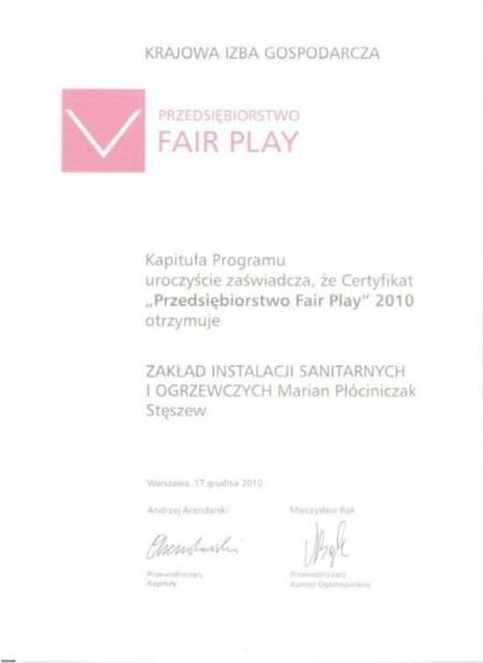 Certyfikat Fair play 2010