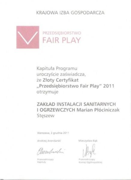 Certyfikat Fair play 2011
